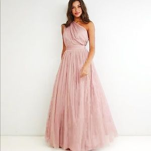 Asos Dresses Premium Tulle One Shoulder Maxi Dress Mink Poshmark